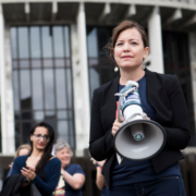 Julie Anne Genter Women's March 2017 New Zealand Parliament